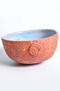 Bowl blend red clay with turquoise glazed